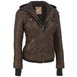 Jackets & Blazers - brown jacket with detachable hoodie